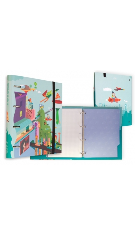CARPETA 4 ANILLAS CON GOMAS CITY FUTURE