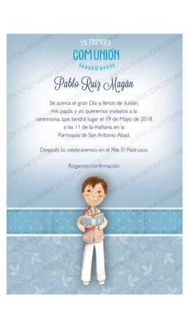 Pack 20 Invitaciones Comunión + Sobre Azul Edima 413845-B